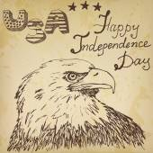 Hand drawn sketch American bald eagle, text happy independence day — Stock Vector