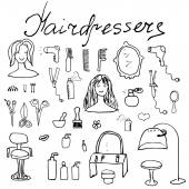 Hairdresser equipment doodles set. Hand-drawn sketch vector illustration, isolated — Stock Vector
