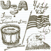Hand drawn sketch American bald eagle drum and usa flag, forth of july set, text happy independence day, paper notebook background — ストックベクタ