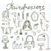 Hairdresser equipment doodles set. Hand-drawn sketch vector illustration, on paper notebook — Stock Vector