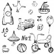 Baby, child toys set hand drawn sketch, isolated on white background — Stock Vector #74906331