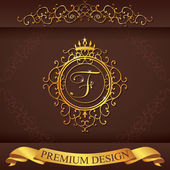 Letter F. Luxury Logo template flourishes calligraphic elegant ornament lines. Business sign, identity for Restaurant, Royalty, Boutique, Hotel, Heraldic, Jewelry, Fashion, vector illustration — Stockvektor