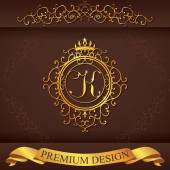 Letter K. Luxury Logo template flourishes calligraphic elegant ornament lines. Business sign, identity for Restaurant, Royalty, Boutique, Hotel, Heraldic, Jewelry, Fashion, vector illustration — Stock Vector
