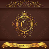 Letter O. Luxury Logo template flourishes calligraphic elegant ornament lines. Business sign, identity for Restaurant, Royalty, Boutique, Hotel, Heraldic, Jewelry, Fashion, vector illustration — Stock Vector