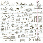 Fashion collection Sketchy Doodles set with Lettering, Hand-Drawn Vector Illustration Design Elements on Lined Sketchbook Paper Background — Stock Vector