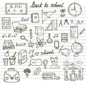 Back to School Supplies Sketchy Notebook Doodles set with Lettering, Hand-Drawn Vector Illustration Design Elements on Lined Sketchbook Paper Background — Stock Vector