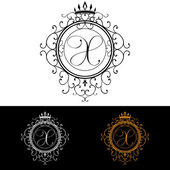 Letter X. Luxury Logo template flourishes calligraphic elegant ornament lines. Business sign, identity for Restaurant, Royalty, Boutique, Hotel, Heraldic, Jewelry, Fashion, vector illustration — Stock Vector