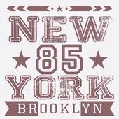 New York City retro vintage typography poster, t-shirt Printing design, vector Badge Applique Label — Stock Vector