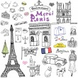 Paris doodles elements. Hand drawn set with eiffel tower bred cafe, taxi triumf arch, Notre Dame cathedral, facion elements, cat and french bulldog. Drawing doodle collection, isolated on white — Stock Vector #79935518