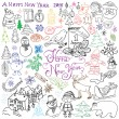 Hand drawn Sketch design of happy new year 2016 Doodles with Lettering set, with christmas trees snowflakes, snowman, elfs, deer, santa claus and festive elements,  Vector Illustration isolated — Stok Vektör #79935526