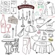 Restaurant sketch doodles set. Hand drawn elements food and drink, knife, fork, menu, chef uniform, wine bottle, waiter apron Drawing doodle collection, isolated on white — Stock Vector #79935884
