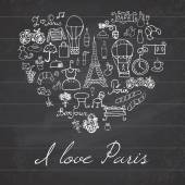 Paris doodles elements. Hand drawn set withefel tower bred cafe flowers and bicycle. Drawing doodle collection, in heart shape, on chalkboard background. — Stock Vector