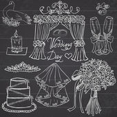 Wedding day elements. Hand drawn set with flowers, candle, glasses for champaign and festive attributes. Drawing doodle collection, on chalkboard background — Διανυσματικό Αρχείο