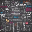 Music items doodle icons set. Hand drawn sketch with notes, instruments, microphone, guitar, headphone, drums, music player and music styles lettering signs, vector illustration, chalkboard background — Stock Vector #81794078