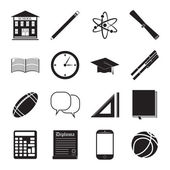 Back to School icon vector set, school building, pen, pensil, sport items, diploma and graduation cap icons, isolated silhouets. — Stock Vector