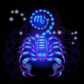 Neon signs of the Zodiac: Scorpio — Stock Vector