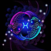 Neon signs of the Zodiac: Pisces — 图库矢量图片