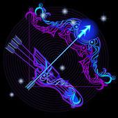 Neon signs of the Zodiac: Sagittarius — Stock Vector