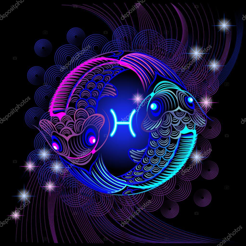 Neon signos del Zodiaco: Piscis — Archivo Imágenes ...