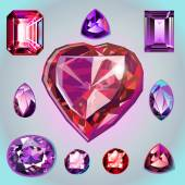 Rubies of different shapes and cut. — Stock Vector