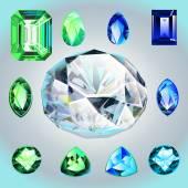 Diamanter och smaragder i olika former och snitt — Stockvektor