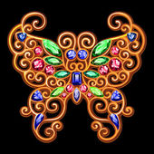 Gouden decoratie van een vlinder op een zwarte achtergrond. — Stockvector