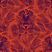 Repaint seamless pattern: fiery Leo — Stock Vector