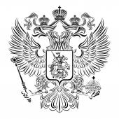 Black and white coat of arms of the Russian Federation — Stock Vector