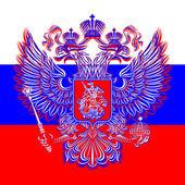Ruská dvouhlavým orlem znak na pozadí vlajky — Stock vektor