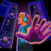 DJ in profile — Stock Vector
