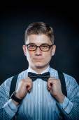 Stylish portrait of a Gentleman, glasses and shirt closeup — Stock Photo
