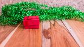 Red gift box decorations for Christmas,New Year and valentine on — Stockfoto