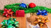 Red gift box decorations for Christmas,New Year and valentine on — Stock Photo