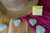 Silver heart, gift box,scarves, hat on wooden decorated for Vale — Stock Photo