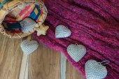 Silver heart, basket ,scarves, on wooden decorated for Valentine — Stock Photo