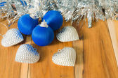 Blue decorated for Christmas and New Year. On the background of — Stock Photo