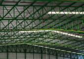 Green metal roof structure with Channel light. — Stock Photo