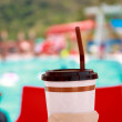 Iced coffee in plastic cup, summer time concept. — Stock Photo #70800771