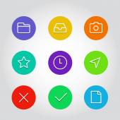 Outline vector icon set with clock, arrow and navigation elements — Stock Vector