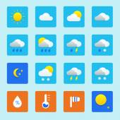 Icon set of weather icons with snow, rain, sun and clouds — Stok Vektör