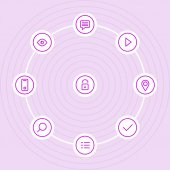 Outline vector icon set with lock, eye, play icons — Stok Vektör