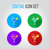 Icon set of fresh coctails with lime and orange — Stockvektor
