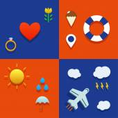 Infografic icon set with love, weather, flying and tourist theme — Stok Vektör