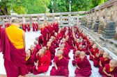Tibetian neophytes and monks — Stock Photo