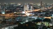 Bangkok at night with traffic light — Foto Stock