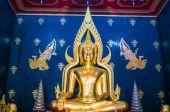 Buddha image at watthai Bodhi gaya India — Stock Photo