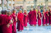 Tibetian neophytes line up — Stock Photo