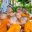 BANGKOK ,THAILAND - 9 JULY 2014 : Unknown young novice monks in — Stock Photo #53812087