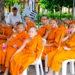 BANGKOK ,THAILAND - 9 JULY 2014 : Unknown young novice monks in — Stock Photo #53812179