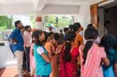 GAYA ,INDIA - MAY 11  Crowded people wait for salute the Buddha  — Stock Photo